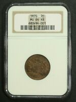 1870 COPPER TWO CENT PIECE NGC MINT STATE 64 RB