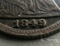 1849/8 SEATED LIBERTY HALF DIME H10C  EXTRA FINE   TOUGH VARIETY FS-301 OVERDATE