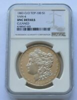 1883 O/O VAM-4 MORGAN SILVER DOLLAR CERTIFIED NGC UNCIRCULATED DETAILS CLEANED