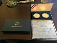 2001 SILVER UNC AND PROOF AMERICAN BUFFALO COMMEM TWO COIN WITH COA IN ORIG. BOX
