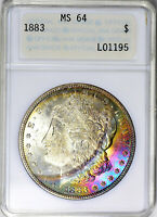 1883  OLD - ANACS MINT STATE 64 - SPECTACULAR RAINBOW TONING - SUPER PREMIUM COIN -