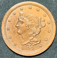 1854 1/2C BRAIDED HAIR HALF CENT -  MINT STATE COPPER