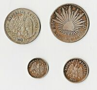 MEXICO GROUP  1860 CAP AND RAY TWO REALE   25C   10C   5 C SILVER CENTAVOS NICE