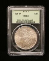 1885 O MORGAN DOLLAR PCGS MINT STATE 63  NEW ORLEANS SILVER COIN OLD HOLDER 6447