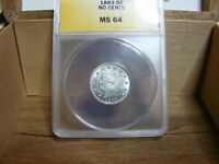 1883 5C V NICKEL ANACS MS64 NO CENTS NEW HOLDER WELL STRUCK