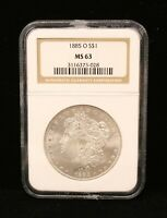 1885-O MORGAN SILVER DOLLAR US COIN MINT STATE 63 NGC CERTIFIED BU UNC UNCIRCULATED 3028
