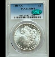 1885-CC $1 MORGAN SILVER DOLLAR  PCGS MINT STATE 64 CAC  CHOICE UNCIRCULATED TRUSTED
