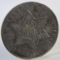 1861 3 THREE CENT SILVER PIECE   L20