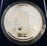 1988 BERMUDA 5 OZ SILVER PROOF COIN THE SAN ANTONIO 1621 W/ COA & BOX   H