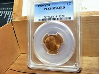 1909 VDB LINCOLN WHEAT CENT PCGS CERTIFIED MS 64 RD TONED  N