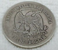 1874 S TRADE SILVER DOLLAR WITH CHOP MARKS UNGRADED
