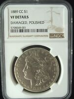 1889 CC MORGAN SILVER DOLLAR CARSON CITY MINT NGC VF DETAILS DAMAGED, POLISHED