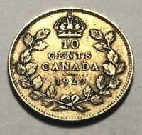 CANADA 1929 TEN CENTS SILVER COIN   KING GEORGE V