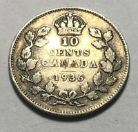 CANADA 1936 TEN CENTS SILVER COIN   KING GEORGE V