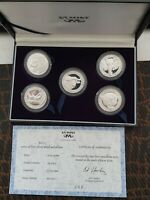 RARE SOUTH AFRICA .999 SILVER PROOF SET OF 5 MEDALLIONS THE