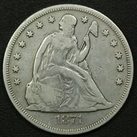 1871 SEATED LIBERTY SILVER DOLLAR   CLEANED