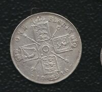 GREAT BRITAIN 1 FLORIN 1916 SILVER
