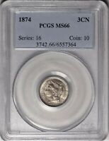 1874 3CN PCGS MINT STATE 66 SUPERB GEM UNCIRCULATED UNC THREE CENT NICKEL BETTER COIN