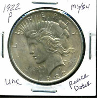1922 P BU PEACE DOLLAR UNCIRCULATED SILVER MINT STATE MS COMMON DATE COINCCW851
