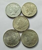 LOT OF 5 ALL DIFFERENT PEACE SILVER DOLLARS FINE-AU