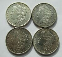 LOT OF 4 DIFFERENT PRE-1921 MORGAN SILVER DOLLARS CLEANED/POLISHED EXTRA FINE -AU DETAILS