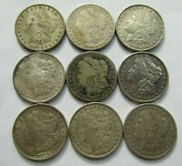 LOT OF 9 MIXED DATE MORGAN SILVER DOLLARS WITH PROBLEMS