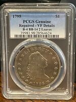 1795 FLOWING HAIR DOLLAR PCGS VF DETAILS B-4 BB-14 2 LEAVES