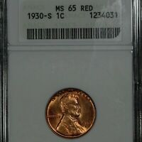 1930-S LINCOLN CENT, MINT STATE 65 RED, ANACS,  VINTAGE WHITE HOLDER, PRETTY