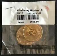 2009 P&D WILLIAM HENRY HARRISON PRESIDENTIAL $1 ONE DOLLAR 2 COIN SET UNC 60
