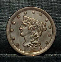 1857 BRAIDED HAIR HALF-CENT  UNCIRCULATED DETAILS  1/2C CLEANED X23 TRUSTED