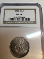 1877 P  SEATED LIBERTY QUARTER 25C COIN   CERTIFIED NGC  MS61  BU UNC