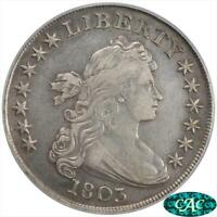 1803  DRAPED BUST $1 PCGS AND CAC EXTRA FINE 45 B-6 BB-255 LARGE 3