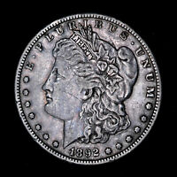 1892-S MORGAN SILVER DOLLAR - EF SCRATCHES