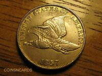 1857 1C FLYING EAGLE CENT OVERDATE ERROR W/ ABOUT UNCIRCULATED DETAILS
