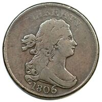 1806 DRAPED BUST HALF CENT COIN 1/2C