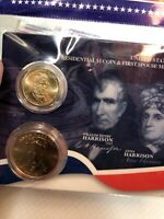 PRESIDENTIAL $1 COIN AND FIRST SPOUSE MEDAL SET. WILLIAM HENRY AND ANNA HARRISON
