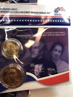 PRESIDENTIAL $1 COIN AND FIRST SPOUSE MEDAL SET. JOHN AND JULIA TYLER.