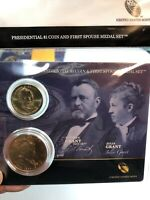 PRESIDENTIAL $1 COIN AND FIRST SPOUSE MEDAL SET. ULYSSES S. AND JULIA GRANT.