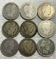 LOT OF 9 SILVER BARBER HALF DOLLARS 1907 D TO 1910 S GOOD TO
