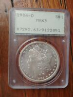 1904-O MORGAN SILVER DOLLAR PCGS MINT STATE 63 NEW ORLEANS 1ST GENERATION RATTLER HOLDER.