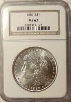 1886-P MORGAN SILVER DOLLAR - NGC MINT STATE 62 - PRETTY UNCIRCULATED COIN -SHIPS FREE