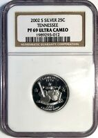 2002 S TENNESSEE SILVER PROOF QUARTER GRADED PF 69 ULTRA CAM