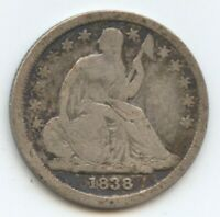 1838 SEATED DIME F OBV. REV. PROBLEMS 12114