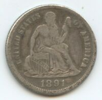 1891-S SEATED DIME EXTRA FINE  PROBLEMS 12129