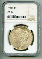 1921 S MORGAN SILVER DOLLAR NGC MINT STATE 62