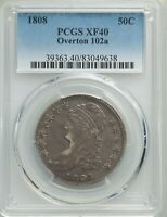 1808 CAPPED BUST HALF DOLLAR, O-102A, R.2, EXTRA FINE 40, PCGS, FREE PRIORITY SHIPPING