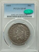 1809 CAPPED BUST HALF DOLLAR, O-103, R.1, EXTRA FINE 45, PCGS CAC, FREE PRIORITY SHIPPING