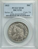 1813 CAPPED BUST HALF DOLLAR O-101, UNI, R.2, EXTRA FINE 40, PCGS, FREE PRIORITY SHIPPING
