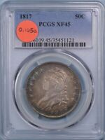 1817 CAPPED BUST HALF DOLLAR O-105A PQ, R.4-, EXTRA FINE 45,PCGS, FREE PRIORITY SHIPPING