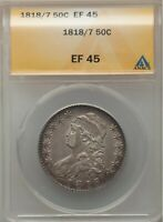 1818 / 7 CAPPED BUST HALF DOLLAR O-101, R.1, EXTRA FINE 45, ANACS, FREE PRIORITY SHIPPING